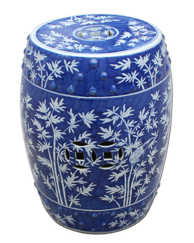 Blue & White Bamboo Garden Stool , Ceramic - LOA, The Pink Pagoda