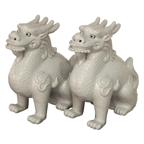 Pair of White Kylin , Ceramic - LOA, The Pink Pagoda