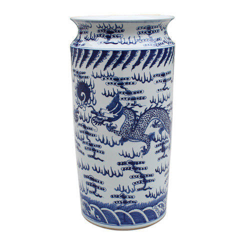 Blue and White Dragon Umbrella Stand , Ceramic - LOA, The Pink Pagoda