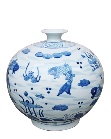 Blue & White Fish Vase , Ceramic - LOA, The Pink Pagoda