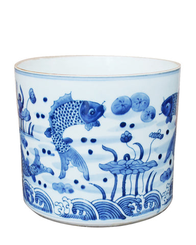 Blue & White Fish Orchid Planter , Ceramic - LOA, The Pink Pagoda