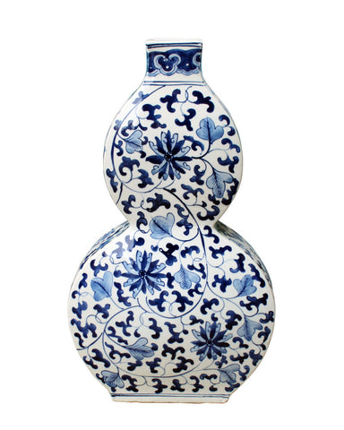 Blue & White Lotus Flat Gourd Vase , Ceramic - LOA, The Pink Pagoda