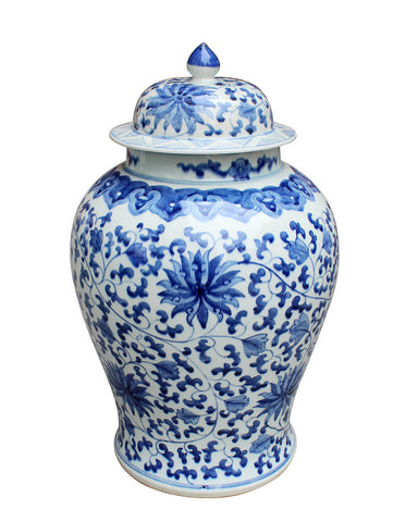 Blue & White Twisted Lotus Temple Jar , Ceramic - LOA, The Pink Pagoda
