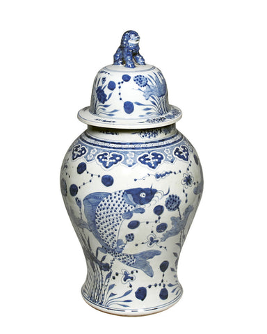 Blue & White Fish Temple Jar , Ceramic - LOA, The Pink Pagoda