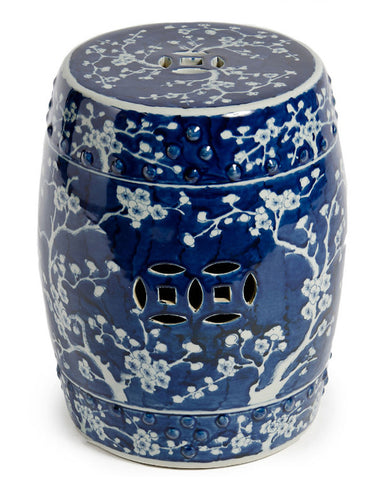 Blue & White Plum Blossom Garden Stool , Ceramic - LOA, The Pink Pagoda