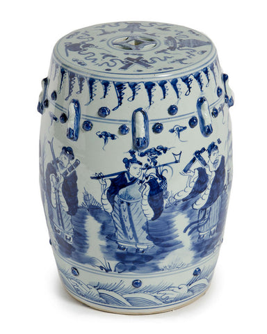 Blue & White Eight Immortals Garden Stool , Ceramic - LOA, The Pink Pagoda