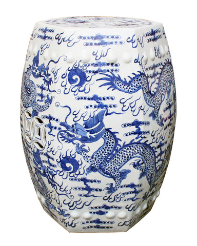 Blue & White  Dragon Garden Stool , Ceramic - LOA, The Pink Pagoda