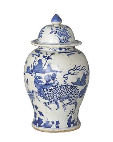 Blue & White Kylin Temple Jar , Ceramic - LOA, The Pink Pagoda