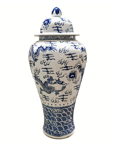 Blue & White Sea Dragon Temple Jar , Ceramic - LOA, The Pink Pagoda