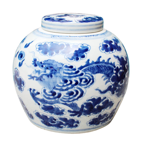 Blue & White Dragon Melon Jar , Ceramic - LOA, The Pink Pagoda
