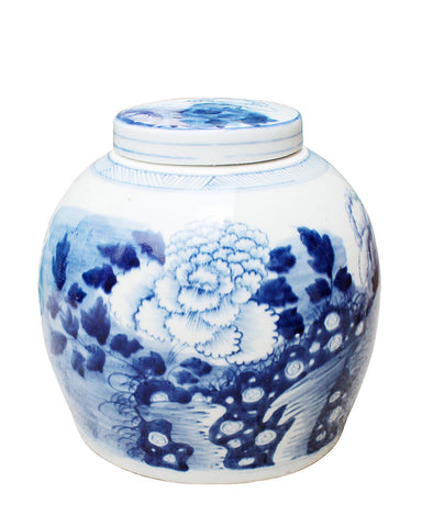 Blue and White Peony Melon Jar , Ceramic - LOA, The Pink Pagoda