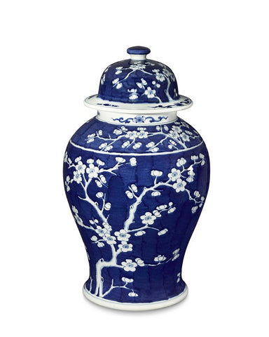 Blue & White Plum Blossom Temple Jar , Ceramic - LOA, The Pink Pagoda