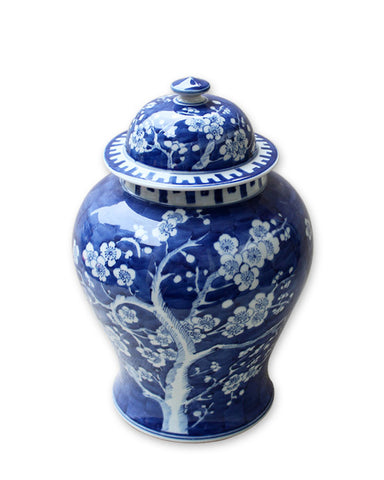 Blue & White Plum Tree Temple Jar - Medium , Ceramic - LOA, The Pink Pagoda