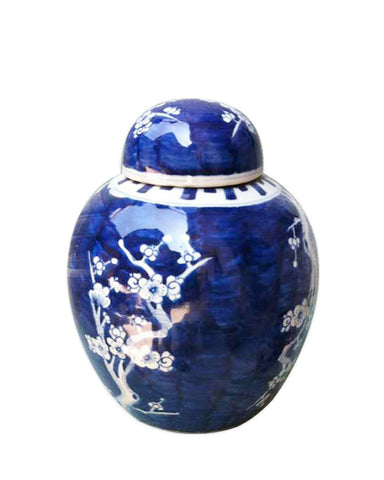 Blue & White Plum Blossom Melon Jar Pair , Ceramic - LOA, The Pink Pagoda