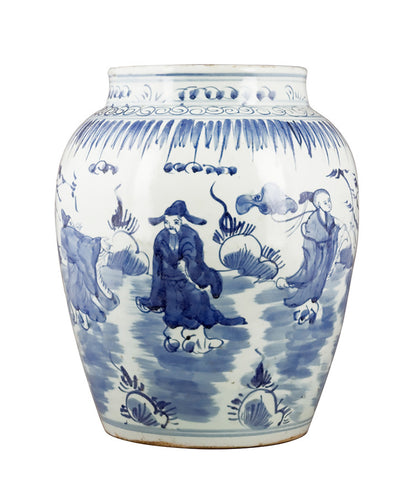 Blue and White Chinese Vase with Figures , Ceramic - OD, The Pink Pagoda