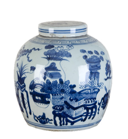 Blue and White Eight Treasures Chinese Melon Jar , Ceramic - OD, The Pink Pagoda  - 1