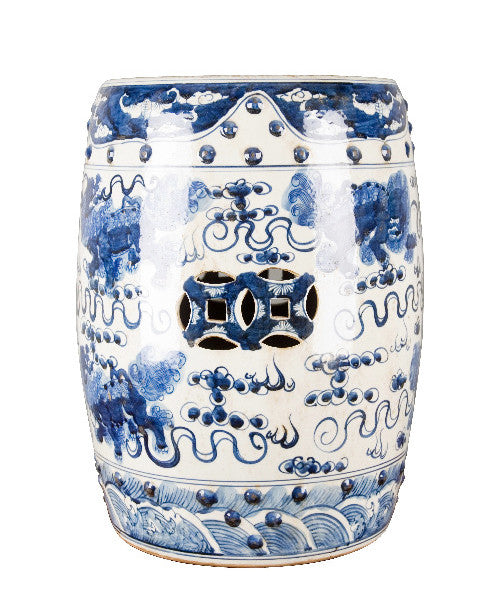 Blue And White Chinese Lion Garden Stool , Ceramic   OD, The Pink Pagoda