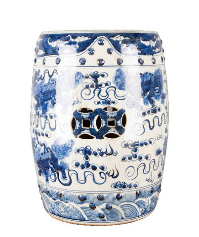 Blue and White Chinese Lion Garden Stool , Ceramic - OD, The Pink Pagoda