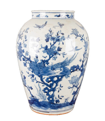 Blue and White Chinese Floral Vase , Ceramic - OD, The Pink Pagoda