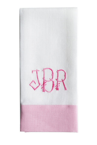 Monogrammed Linen Guest Towel  Pair in Pink , Linen - NF, The Pink Pagoda  - 1