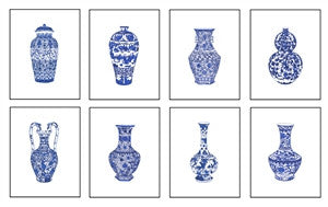 Set of Eight Prints Blue and<br>White Chinese Porcelain in size <br>13x19 Giclee , Art Print - TPP, The Pink Pagoda