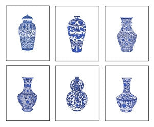 Set of Six Prints Blue and White <br>Chinese Porcelain in size 13x19 <br>Giclee , Art Print - TPP, The Pink Pagoda