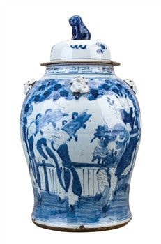 Blue and White Chinese Ginger Jar with Figures , Ceramic - OD, The Pink Pagoda