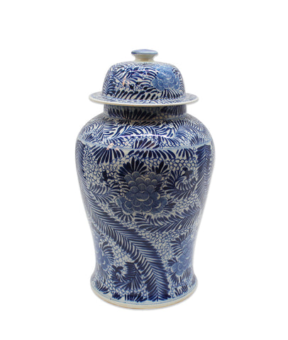 Blue and White Blooming Flowers Temple Jar