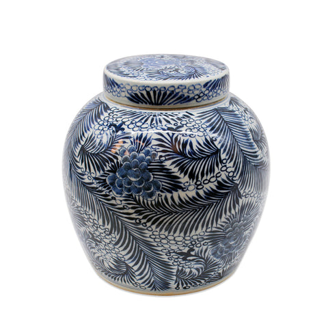 Blue and White Blooming Flowers Ancestor Jar