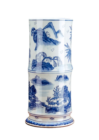 Blue and White Bamboo Vase