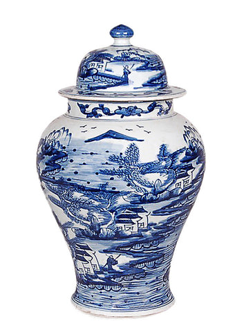 Blue and White Canton Temple Jar , Ceramic - AV, The Pink Pagoda