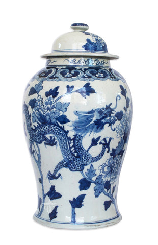 Blue and White Ginger Jar with Dragons and Peonies , Ceramic - OD, The Pink Pagoda