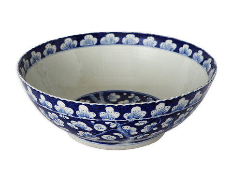 Blue and White Chinese Hawthorne Bowl , Ceramic - OD, The Pink Pagoda