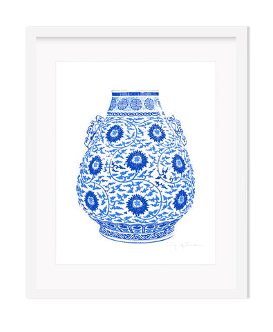 Framed Blue and White Chinese Lotus Vase Giclee Art Print , Art Print - TPP, The Pink Pagoda