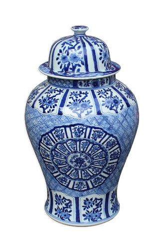 Blue & White Chinese Medalion Temple Jar , Ceramic - LOA, The Pink Pagoda