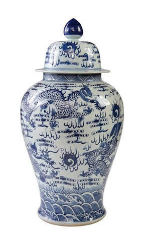 Blue & White Temple Jar with Sea Dragon Motif , Ceramic - LOA, The Pink Pagoda