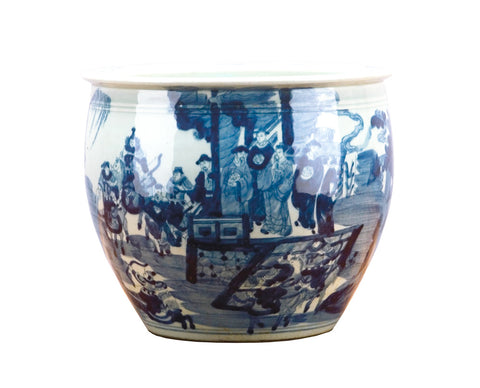Blue and White Fishbowl Shaped Planter with Figures