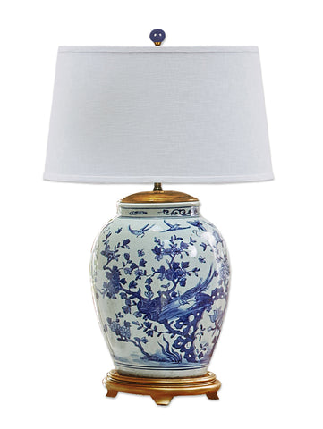Large Blue and White Bird and Flower Lamp