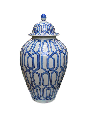 Blue and White Crissing Diamond Heaven Jar