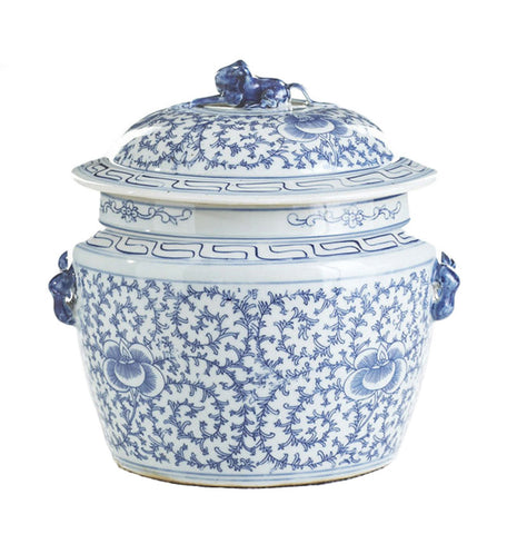 Blue & White Lidded Rice Jar Floral Motif , Ceramic - LOA, The Pink Pagoda