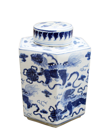 Blue and White Lion Tea Jar , Ceramic - LOA, The Pink Pagoda