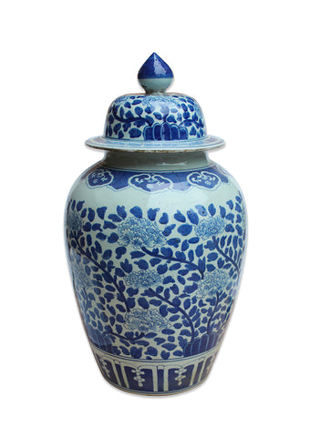 Blue and White Dynasty Ginger Jar Leaves & Blossoms