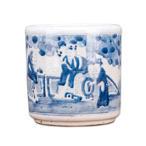 Blue and White Planter with Figures