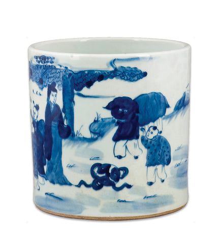 Blue and White Chinese Vase with Figures