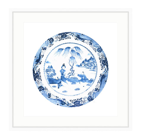 Framed Blue and White Chinese Plate Print