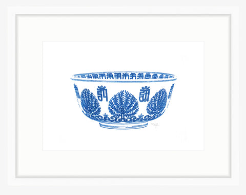 Framed Chinese Blue and White Bowl Print