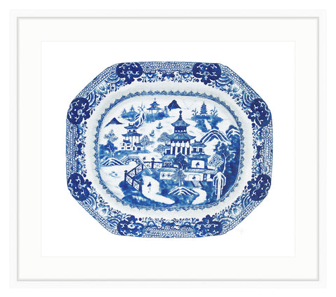 Framed Blue and White Canton Plate Print