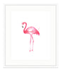 Framed Pink Watercolor Flamingo