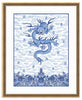 Framed Chinese Imperial Dragon Robe in Blue and White Georgetown (Blue Accent Mat) / 8x10 (14x16.5),  - The Pink Pagoda, The Pink Pagoda  - 12
