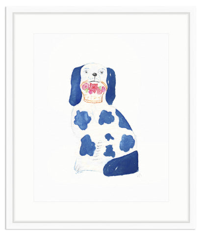 Framed Blue and White Staffordshire Dog Irvine Slim / 8x10 (14x16),  - The Pink Pagoda, The Pink Pagoda  - 1